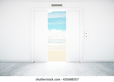 Open white elevator with seaside view. 3D Rendering
