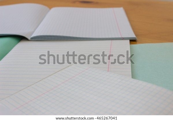 Open White Lined Exercise Books On Stock Photo (Edit Now