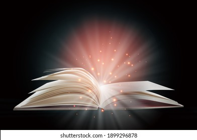 Open white paper fantasy book with shining pages isolated on black background. Miracle concept and mystery idea