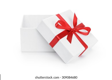 open white present paper box with red ribbon bow, isolated on white
