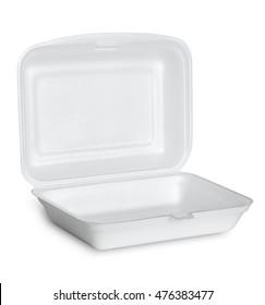 open white styrofoam box isolated on white background