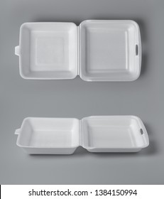 Open white styrofoam lunch box for takeaway food on grey background for print design and mock up