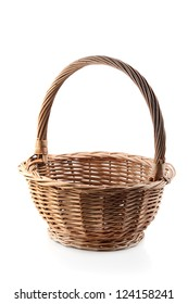 open wicker basket isolated on white background