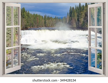 Open window view to Dawson Falls, Murtle River, Wells Gray Provincial Park, British Columbia, Canada