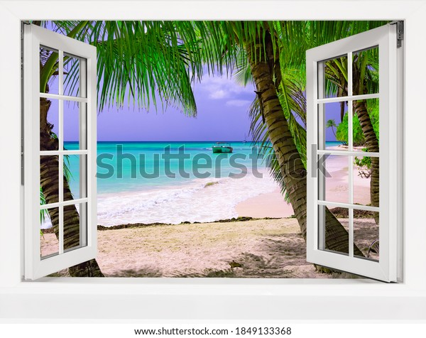 open window view of the sea tropical landscape