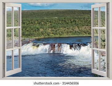 Open window view to wide waterfall in the river, Finland