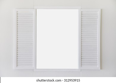 open window white wooden vintage empty frame
