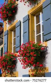 Open windows with beautiful flowers in swiss town
