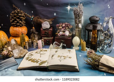 an open witch book, pumpkins and natural stones, tarot cards on a blue background, witchcraft, Wicca, a celebration of Halloween