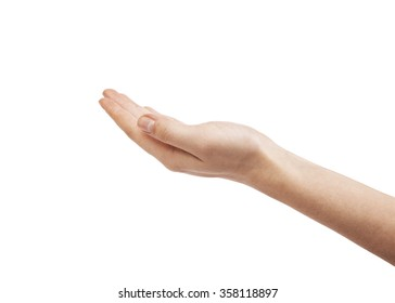 Open woman hand on white background.