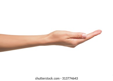 Open a woman's hand, palm up isolated on white background.