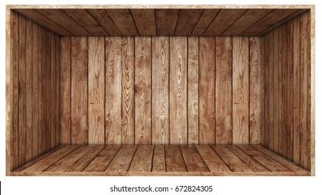 Open wood box isolated on white background