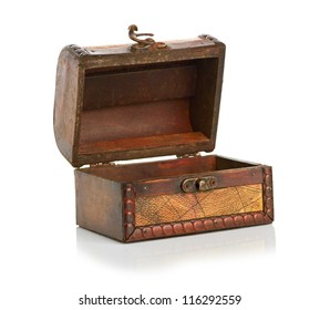 open wooden chest isolated on a white background