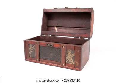 open wooden chest on white background