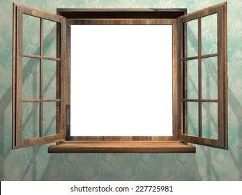 Open wooden window. 3d render