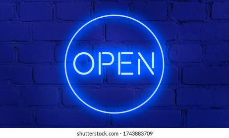 OPEN word in blue neon style on brick  background for your design tempates.