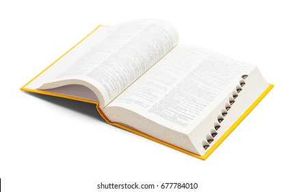 Open Yellow Dictionary Book Isolated on White Background.