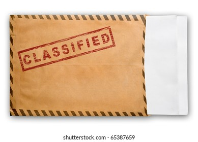 Open yellow envelope with top secret stamp and blank papers, on white background, clipping path.