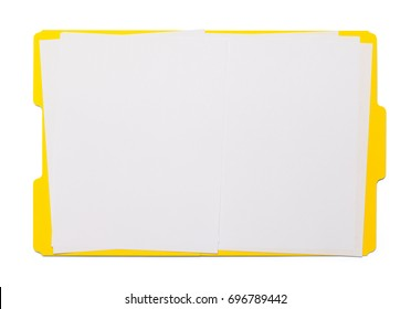 Open Yellow Folder Isolated on White Background.
