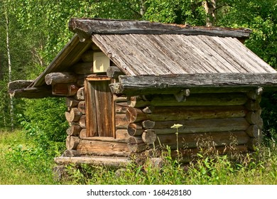 Open-air architecture museum Malye Korely, Arkhangelsk area. The granary, 19th century