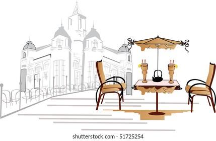 an open-air cafe
