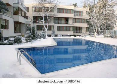 Open-air swimming pool in winter