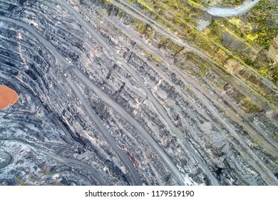Opencast Mining Quarry for the Extraction of Ironstone Magnetite Ores. Located in Olenegorsk in Nothern Russia