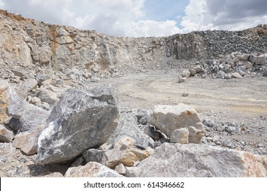 Open-cast quarry, limestone mining.