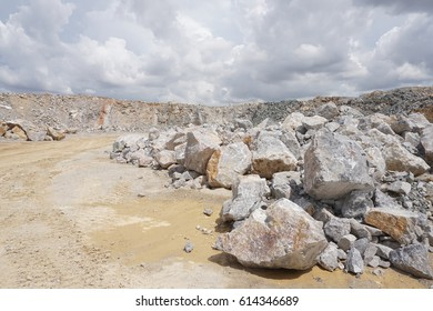 Open-cast quarry, limestone mining.
