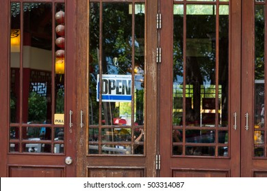 open,door of a coffee shop