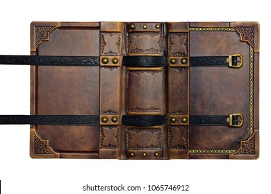 Opened aged brown leather cover with gilded frame and embossed leather stripes in high resolution