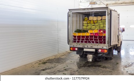 Opened back doors of the truck loaded with rose flowers. Loading flowers in stock for delivery.