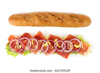 Opened baguette sandwich with lettuce, onions and ham isolated on white background