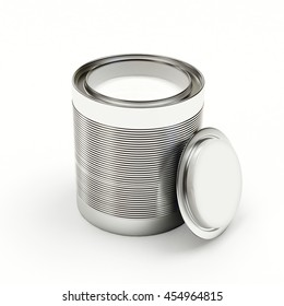 Opened a bank with white paint isolated on white background. 3D illustration