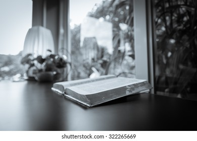 Opened Bible, the bible,Open bible on the table