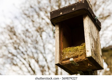 opened birdhouse with old nest in it