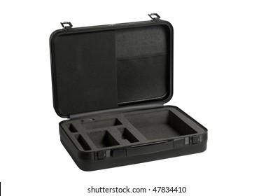 the opened black case isolated on white background