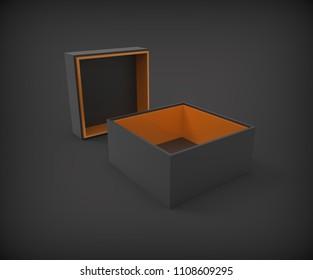 Opened black gift box mockup on black background, 3d rendering