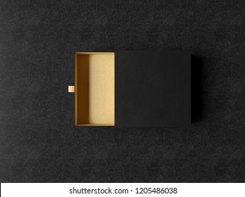Opened Black Gift Box Mockup on black background, 3d rendering. Luxury packaging box for premium products