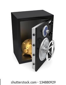 Opened black safe with golden piggy bank inside
