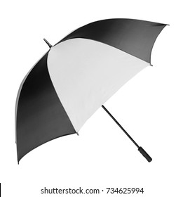 Opened black and white umbrella on white background