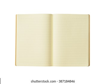 opened blank book  on white background