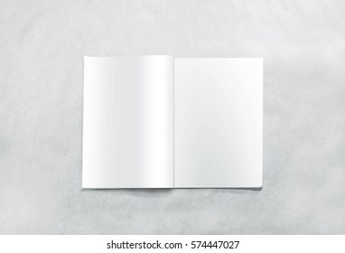 Opened blank magazine pages mockup, isolated on textured background. White journal mock up lying on desk. Catalog spread template. Empty notebook booklet design inside. Clear book center presentation.