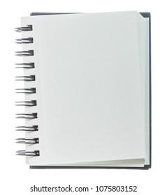 Opened blank notepad isolated on white