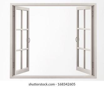 opened blank window frame