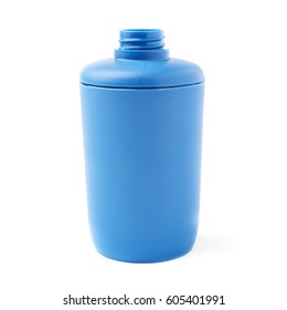 Opened blue plastic bottle of liquid soap isolated over the white background