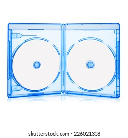 Opened BluRay Case with Two Disk Isolated on white with clipping path