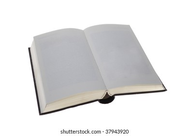 Opened book with blank pages isolated
