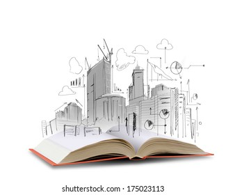 Opened book and hand drawing building sketches