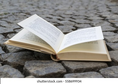 Opened book with landscape - lying on cobblestone road